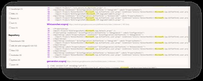 חיפוש קטעי קוד שמזכירים את המילה Microsoft