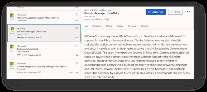 אינדיקציה למשרד חדש ל-UN Affairs של מיקרוסופט בניו יורק כפי שעולה בהצעת עבודה באתר Glassdoor